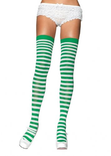 Thigh High Stockings (Leg Avenue 6005) - Stripes - Green/White